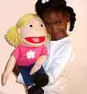 White girl Muppet-mouth puppet