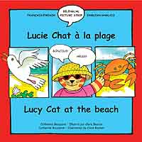 Lucy Cat on the Beach - French bilingual book cover